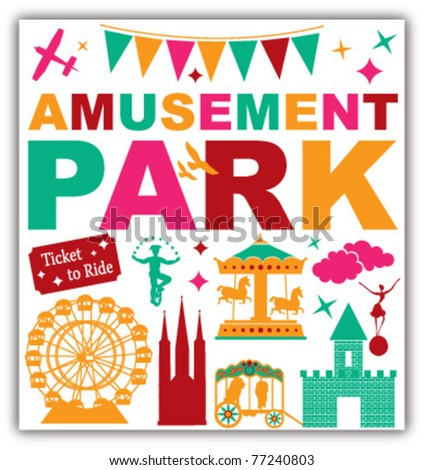 AMUSEMENT PARK ICONS SYMBOLS AND GRAPHIC ELEMENTS. Vector illustration file.