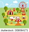 Amusement park infographic elements vector illustration flat style - stock photo