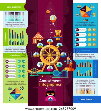 Amusement park infographics set with attractions and entertainment symbols and charts vector illustration - stock vector