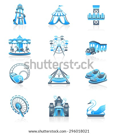 Amusement park or funfair attraction blue-gray icon-set - stock vector