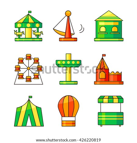 Amusement park outline icons, vector illustration in outline style - stock vector