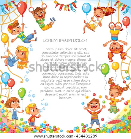 Amusement park. Playground. Children have fun on the rides. Template for advertising brochure. Ready for your message. Children look up with interest. Funny cartoon character. Vector illustration - stock vector