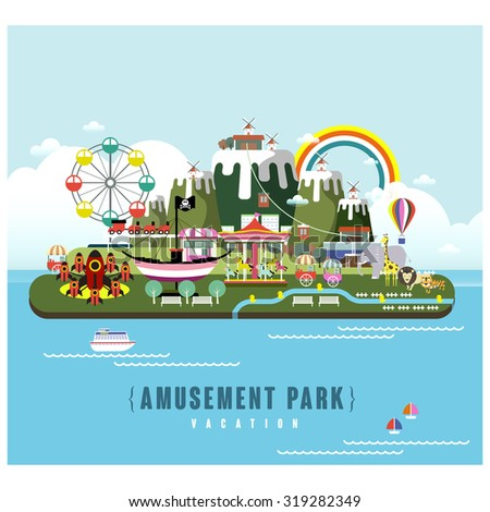amusement park scenery in flat design style - stock vector