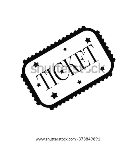 Amusement park ticket black simple icon isolated on white background - stock vector