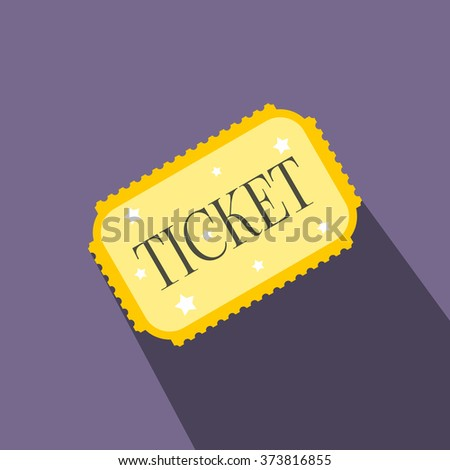 Amusement park ticket flat icon on a violet background - stock vector