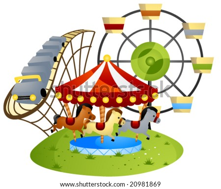 Amusement Park - Vector - stock vector