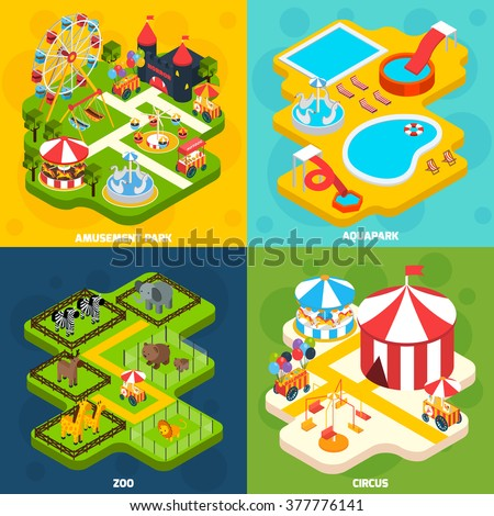 Amusement park with aqua attractions elements 4 isometric vector icons square composition banner abstract isolated vector illustration   - stock vector