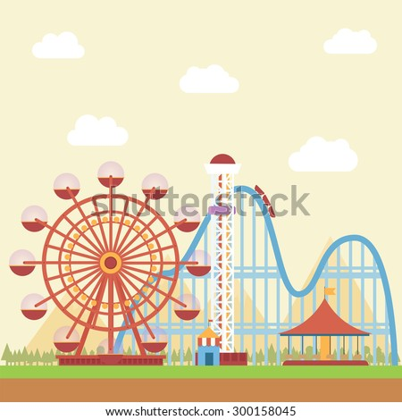 Amusement Park with mountain view in the background - stock vector