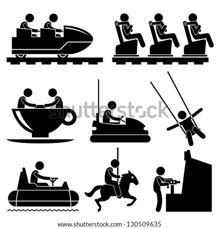 Amusement Theme Park People Playing Stick Figure Pictogram Icon - stock vector