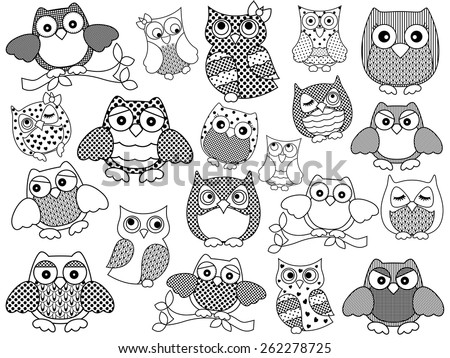 Amusing and funny twenty ornamental owls set, black vector contours isolated on white background - stock vector