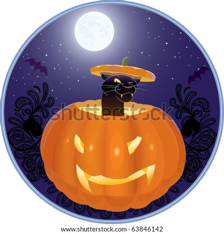 amusing cat with the original hat, sitting in an empty pumpkin - stock vector