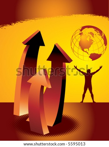 An abstract background landscape with man, earth and upward arrows - stock vector