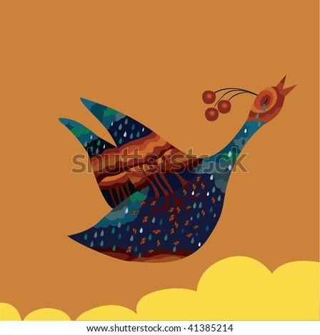 an abstract bird - stock vector