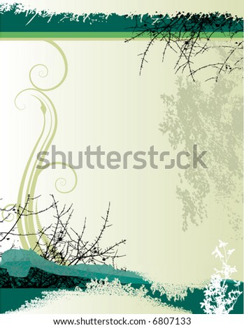 An abstract floral grunge vector background with space for text - stock vector