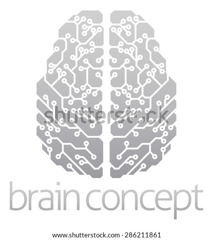 An abstract illustration of an electronic brain, ai artificial intelligence concept - stock vector