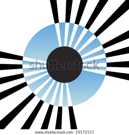 An abstract illustration of an eye iris with lines protruding from the center.  This vector is fully editable. - stock vector