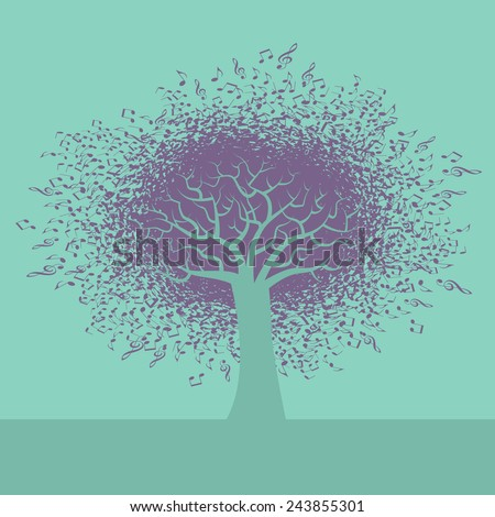 An abstract Music Tree Background for Print or Web - stock vector