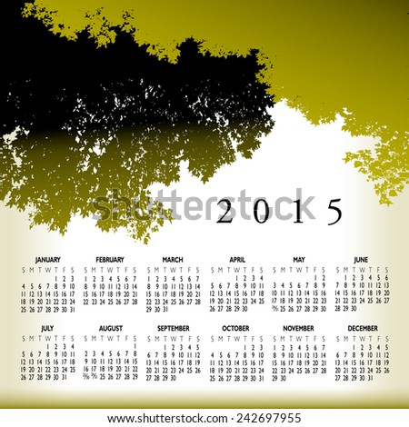 An abstract 2015 tree calendar for Print or Web - stock vector