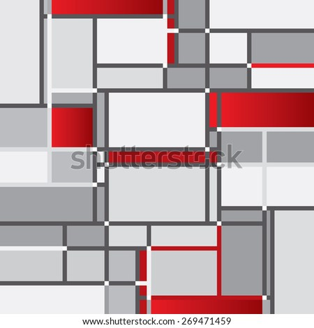 An abstract vector background comprised of random squares and rectangles. - stock vector