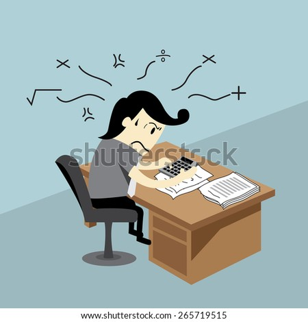 An accountant is in a difficult work environment.working concept - stock vector