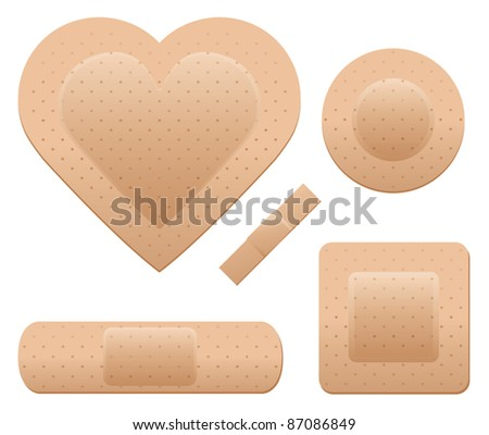An adhesive bandage set including one in the shape of a heart. - stock vector