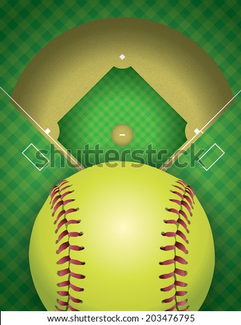 An aerial view of a softball field and ball. Vector EPS 10 contains transparencies. - stock vector