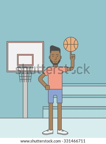 An african-american basketball player spinning the ball on his finger. Vector line design illustration. Vertical layout with a text space for a social media post. - stock vector