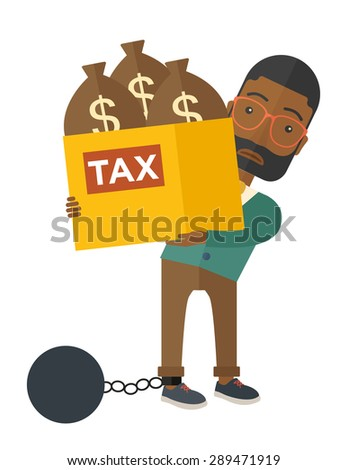 An african-american businessman locked in a debt ball in chain for committing crime in tax evasion. Debt concept. A Contemporary style. Vector flat design illustration isolated on white background - stock vector