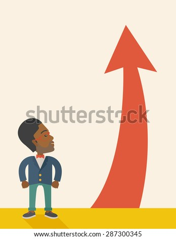 An african-american businessman standing beside the red arrow pointing up. Successful business concept. A Contemporary style with pastel palette, soft beige tinted background. Vector flat design - stock vector
