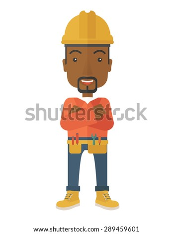 An african-american constructions worker wearing hard hat for protection of his head. Working concept. A contemporary style. Vector flat design illustration with isolated white background. Vertical - stock vector
