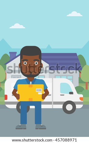 An african-american delivery man with box on background of delivery truck. Delivery man carrying cardboard box. Man with a box in his hands. Vector flat design illustration. Vertical layout. - stock vector