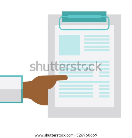 An African American doctor hand holding medical notepad vector flat design illustration isolated on white background. Square layout. - stock vector