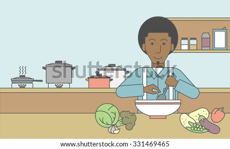 An african-american man cooking meal at the table with some vegetables on it on kitchen background. Vector line design illustration. Horizontal layout with a text space for a social media post. - stock vector
