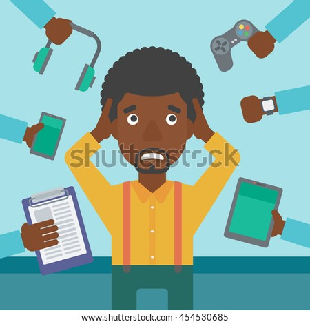 An african-american man in despair and many hands with gadgets around him. Young man surrounded with gadgets. Man using many electronic gadgets. Vector flat design illustration. Square layout. - stock vector