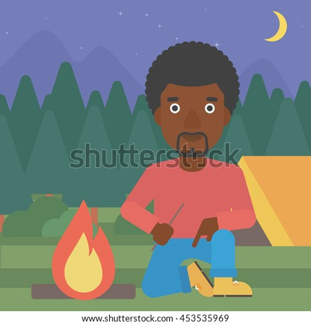 An african-american man kindling a campfire on the background of camping site with tent. Tourist relaxing near campfire. Vector flat design illustration. Square layout. - stock vector