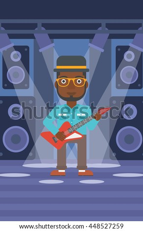 An african-american man playing electric guitar on the stage with spotlights vector flat design illustration. Vertical layout. - stock vector