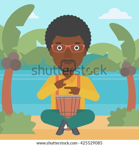 An african-american man playing tomtom on the background of tropical beach with palm trees and the sea vector flat design illustration. Square layout. - stock vector