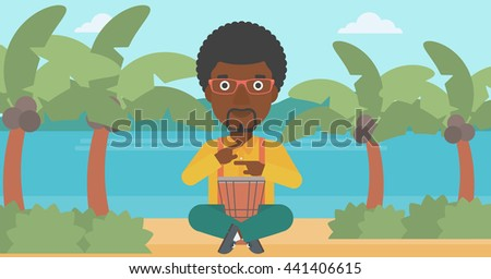 An african-american man playing tomtom on the background of tropical beach with palm trees and the sea vector flat design illustration. Horizontal layout. - stock vector