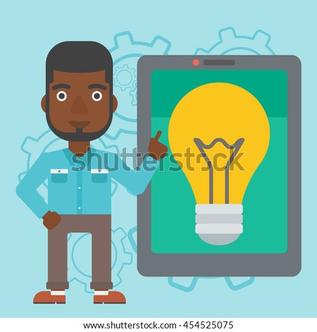 An african-american man pointing at a big tablet computer. Man standing near tablet computer with a light bulb on a screen. Vector flat design illustration. Square layout. - stock vector
