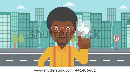 An african-american man pressing like button on a city background vector flat design illustration. Horizontal layout. - stock vector