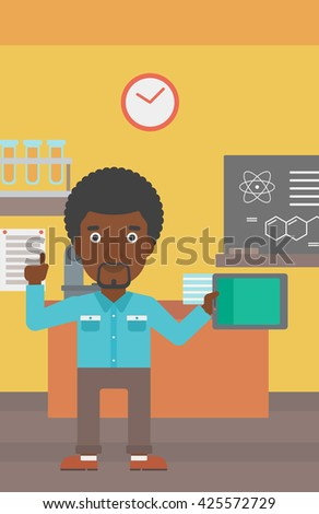 An african-american man standing with a tablet computer and pointing his forefinger up on the background of chemistry class vector flat design illustration. Vertical layout. - stock vector