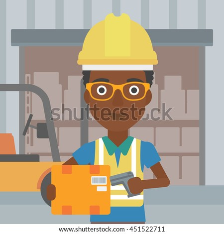An african-american warehouse worker scanning barcode on box. Warehouse worker checking barcode of box with a scanner. Woman in hard hat with scanner. Vector flat design illustration. Square layout. - stock vector