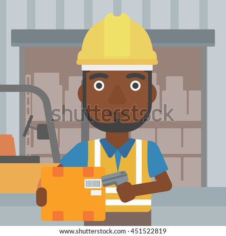 An african-american warehouse worker scanning barcode on box. Warehouse worker checking barcode of box with a scanner. Man in hard hat with scanner. Vector flat design illustration. Square layout. - stock vector