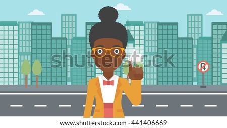 An african-american woman pressing like button on the background of apartment vector flat design illustration. Horizontal layout. - stock vector