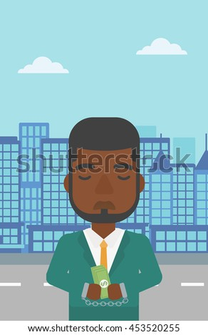 An african-american young businessman in handcuffs with money in hands on the background of modern city. Businessman handcuffed for crime. Vector flat design illustration. Vertical layout. - stock vector