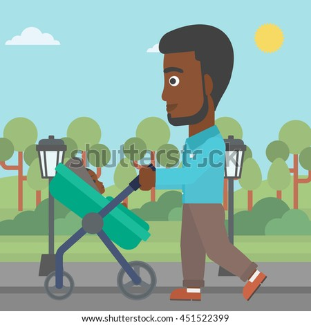 An african-american young father walking with baby stroller in the park. Father walking with his baby in stroller. Father pushing baby stroller. Vector flat design illustration. Square layout. - stock vector