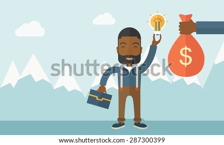 An african-american young man exchange his hand with idea bulb to hand of money bag. Exchanging concept. A contemporary style with pastel palette soft blue tinted background with desaturated clouds - stock vector