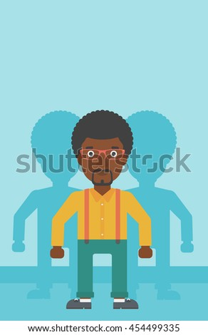 An african-american young man standing with some shadows behind him. Candidat for a position stand out from crowd. Concept of staff recruitment. Vector flat design illustration. Vertical layout. - stock vector