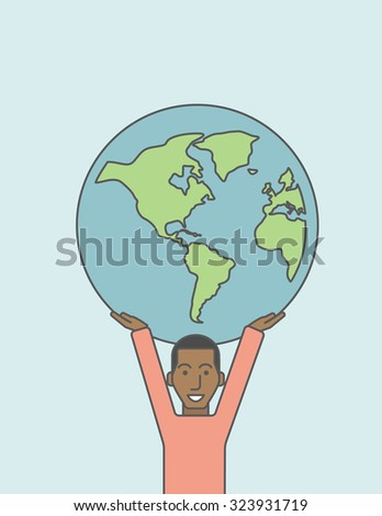 An african businessman carrying big globe. Vector line design illustration. Vertical layout with a text space.