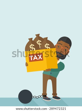 An african businessman locked in a debt ball in chain for committing crime in tax evasion. Debt concept. A Contemporary style with pastel palette, soft blue tinted background. Vector flat design - stock vector